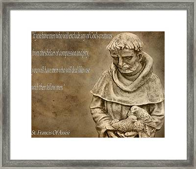 Saint Francis Of Assisi Framed Print by Dan Sproul