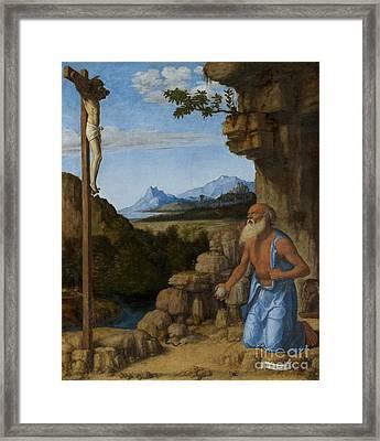 Saint Jerome In The Wilderness Framed Print by Giovanni Battista Cima da Conegliano