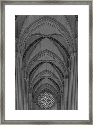 Saint John The Divine Cathedral Arches And Rose Window Bw Framed Print by Susan Candelario