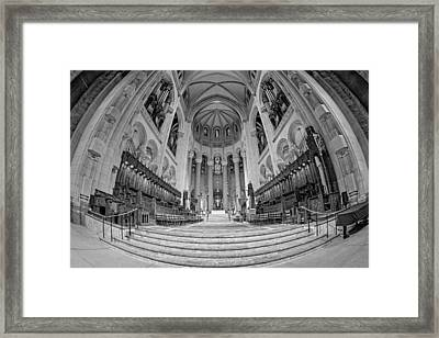 Saint John The Divine Cathedral High Altar  IIi Bw Framed Print by Susan Candelario