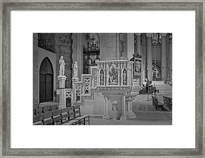 Saint John The Divine Cathedral Pulpit Bw Framed Print by Susan Candelario