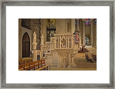 Saint John The Divine Cathedral Pulpit Framed Print by Susan Candelario