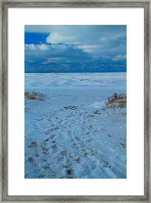 Saint Joseph Michigan Beach In Winter Framed Print by Dan Sproul