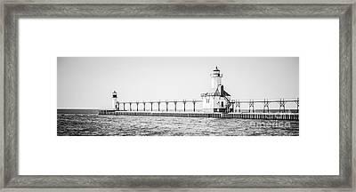 Saint Joseph Michigan Lighthouse Panoramic Photo Framed Print by Paul Velgos