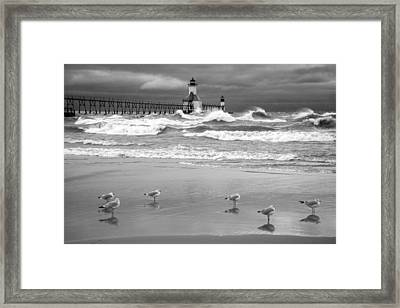 Saint Joseph Michigan Lighthouses Stormy Day At Silver Beach I Bw Framed Print by Sally Rockefeller