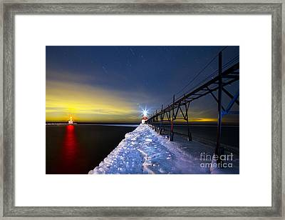 Saint Joseph Pier At Night Framed Print by Twenty Two North Photography