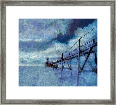 Saint Joseph Pier Lighthouse In Winter Framed Print by Dan Sproul