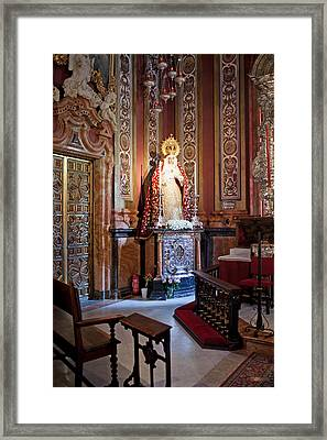 Saint Mary Statue In The Sevilla Cathedral Framed Print by Artur Bogacki