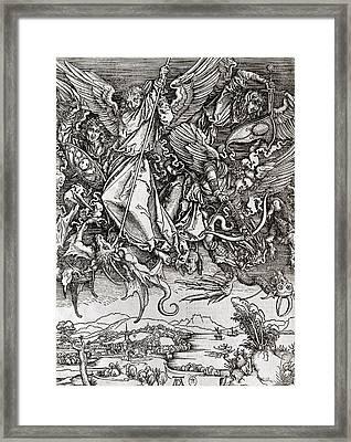 Saint Michael And The Dragon Framed Print by Albrecht Durer or Duerer