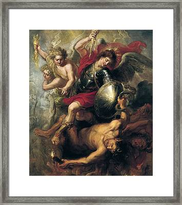Saint Michael Expelling Lucifer And The Rebellious Angels Framed Print by Workshop of Rubens