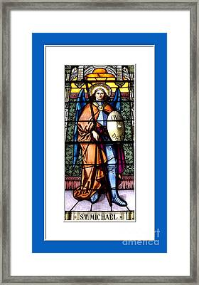 Saint Michael The Archangel Stained Glass Window Framed Print by Rose Santuci-Sofranko