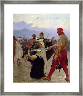 Saint Nicholas Of Myra Saves Three Innocents From Death Framed Print by Ilya Efimovich Repin