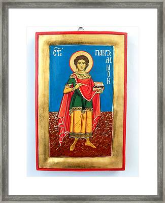 Saint Panteleimon Doctor Without Silver For Those Who Had No Money Framed Print by Denise ClemencoIcons