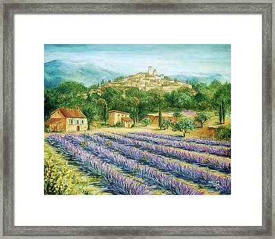 Saint Paul De Vence And Lavender Framed Print by Marilyn Dunlap