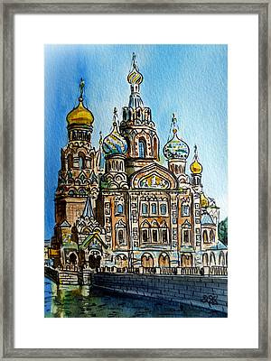 Saint Petersburg Russia The Church Of Our Savior On The Spilled Blood Framed Print by Irina Sztukowski