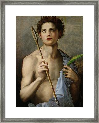 Saint Sebastian Holding Two Arrows And The Martyr's Palm Framed Print by Andrea Del Sarto
