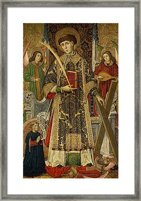 Saint Vincent  Deacon And Martyr With A Donor Framed Print by Tomas Giner