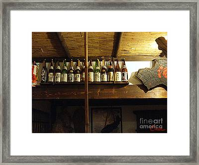 Sake Collection In Japanese Home Dinning Room Framed Print by Feile Case