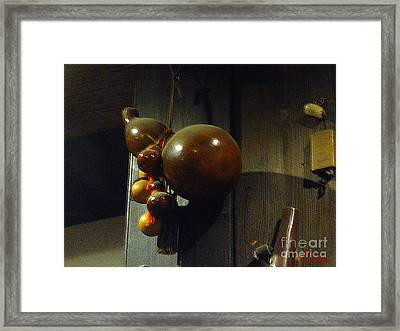 Sake Gourd Bottles From Japan On Corner Framed Print by Feile Case