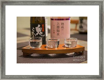 Sake Trio - A Variety Of Sake To Taste. Framed Print by Jamie Pham