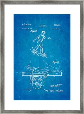 Sakwa Skateboard Brake Patent Art 1966 Blueprint Framed Print by Ian Monk