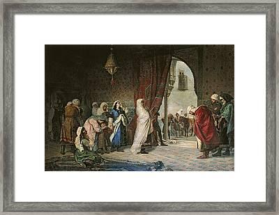 Salida Del Boabdil, At The Alhambra Oil On Canvas Framed Print by Manuel Gomez Moreno y Gonzalez