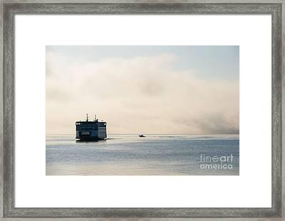 Salish Into The Fog Framed Print by Mike  Dawson