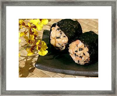 Salmon And Black Sesame Onigiri Framed Print by James Temple