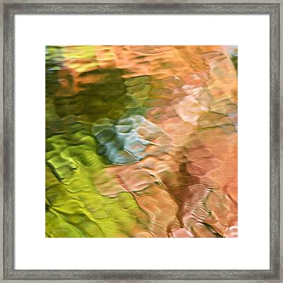 Salmon Mosaic Abstract Square Framed Print by Christina Rollo