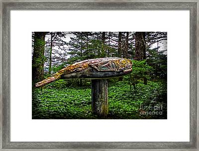Salmon Totem Pole Framed Print by Robert Bales