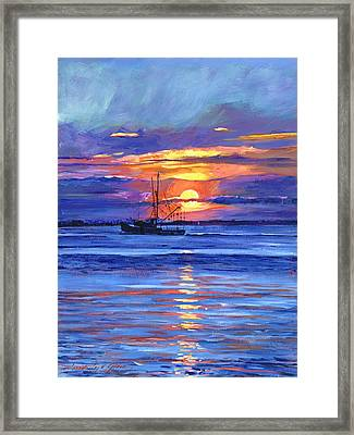 Salmon Trawler At Sunrise Framed Print by David Lloyd Glover