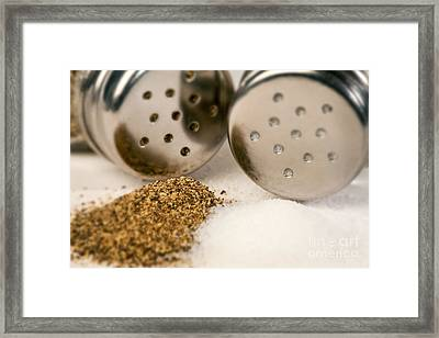 Salt And Pepper Shaker Spilled Framed Print by Iris Richardson
