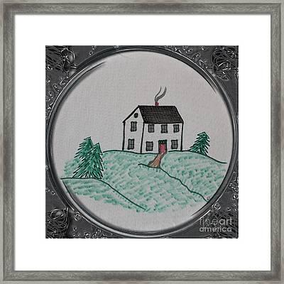 Salt Box Style House - Porthole Vignette Framed Print by Barbara Griffin