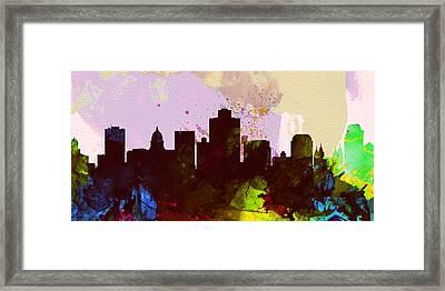 Salt Lake City Skyline Framed Print by Naxart Studio