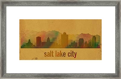 Salt Lake City Utah City Skyline Watercolor On Parchment Framed Print by Design Turnpike