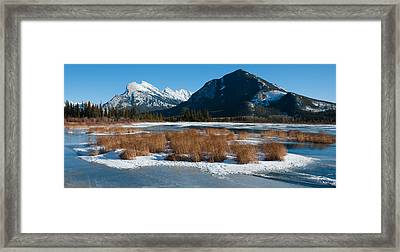 Salt Lake With Mountain Range Framed Print by Panoramic Images