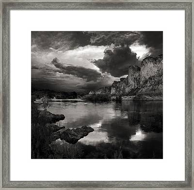 Salt River Stormy Black And White Framed Print by Dave Dilli