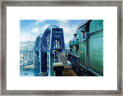 Saltash Bridge. Framed Print by Mike  Jeffries