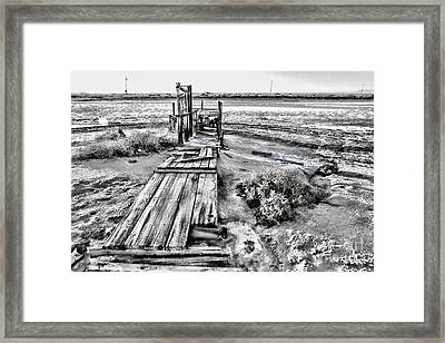 Salton Sea Dock Under Renovation By Diana Sainz Framed Print by Diana Sainz