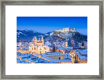 Salzburg In Winter Framed Print by JR Photography