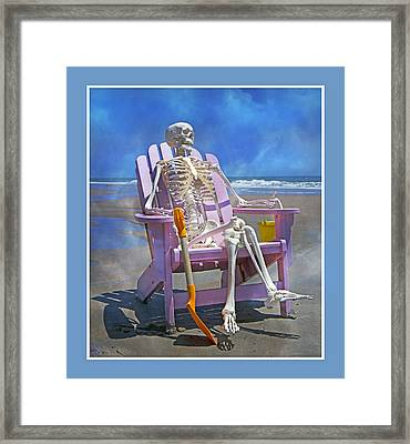 Sam Enjoys The Beach -- Again Framed Print by Betsy C Knapp