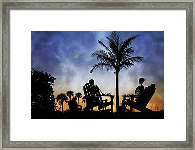Sam Spends An Evening With Colleagues Framed Print by Betsy C Knapp