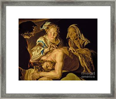 Samson And Delilah Framed Print by Matthias Stomer
