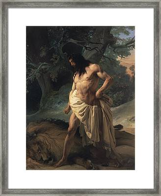 Samson Slays The Lion Framed Print by Francesco Hayez