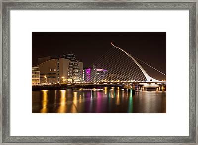 Samuel Beckett Bridge In Dublin City Framed Print by Semmick Photo