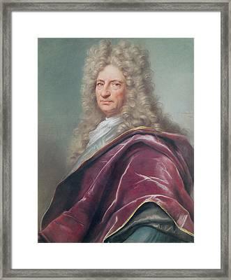 Samuel Bernard, Comte De Coubert, 1699 Pastel On Paper Framed Print by Joseph Vivien