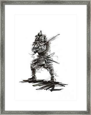 Samurai Complete Armor Warrior Steel Silver Plate Japanese Painting Watercolor Ink G Framed Print by Mariusz Szmerdt