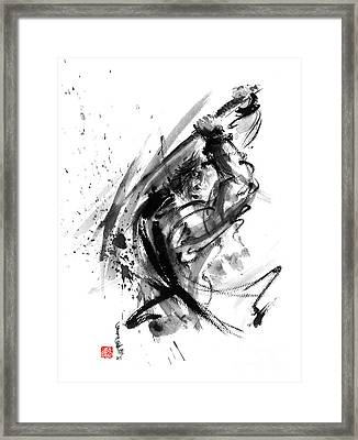 Samurai Ronin Wild Fury Bushi Bushido Martial Arts Sumi-e Original Ink Painting Artwork Framed Print by Mariusz Szmerdt