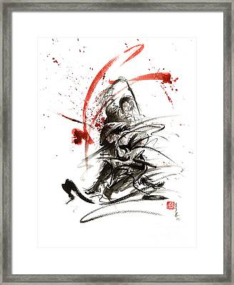Samurai Sword Black White Red Strokes Bushido Katana Martial Arts Sumi-e Original Fight Ink Painting Framed Print by Mariusz Szmerdt