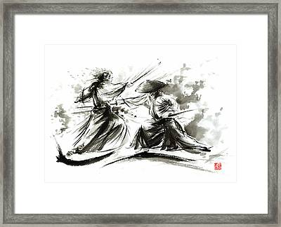 Samurai Sword Bushido Katana Martial Arts Budo Sumi-e Original Ink Painting Artwork Framed Print by Mariusz Szmerdt